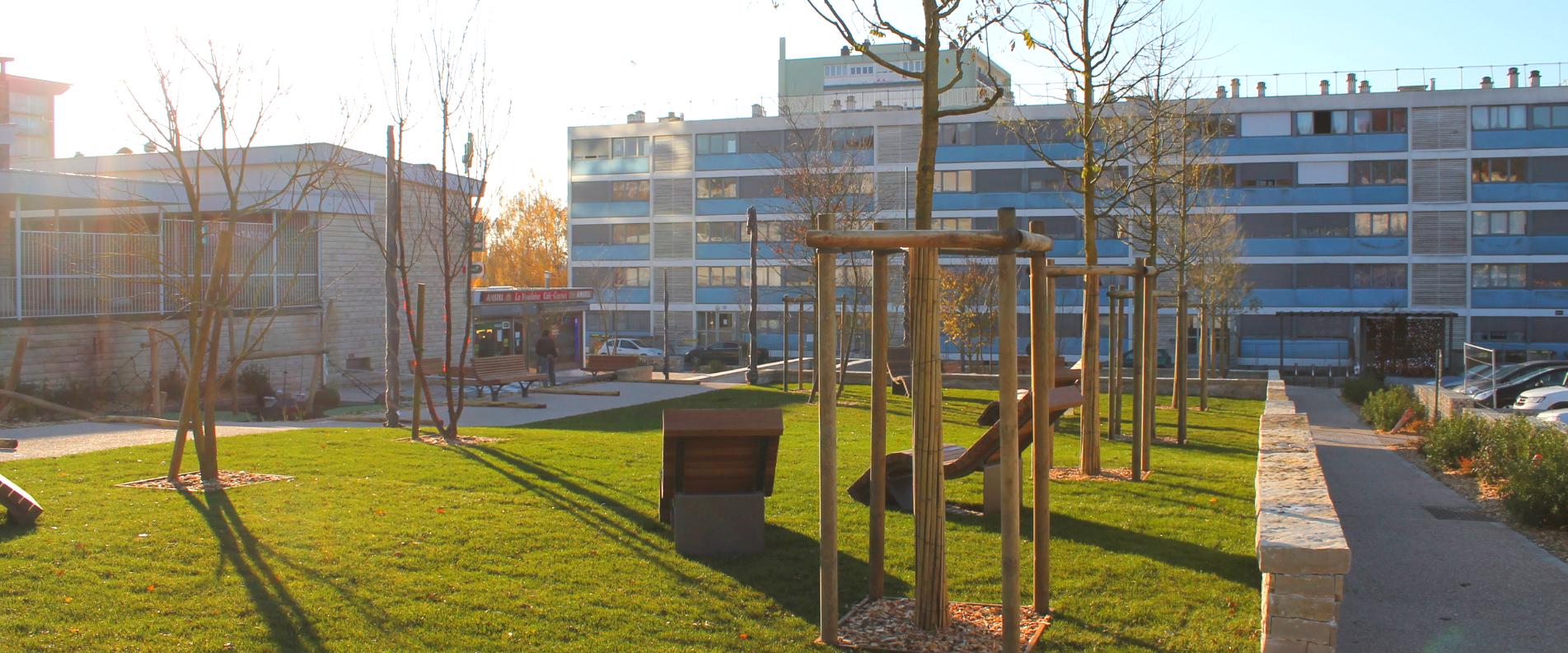 Aménagement de moblier urbain en ville